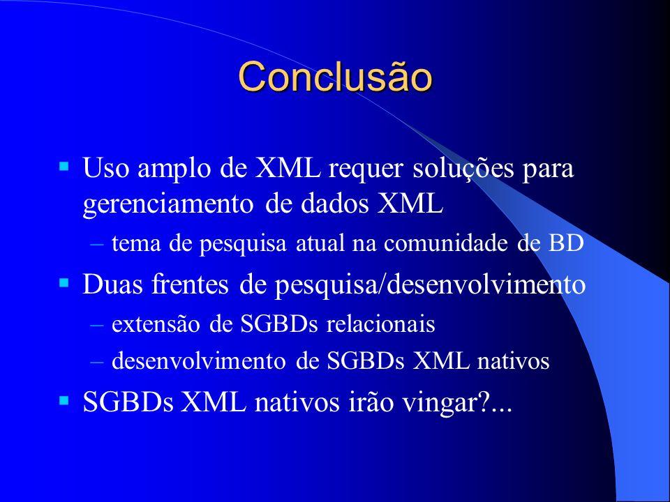 Conclusão Uso amplo de XML requer soluções para gerenciamento de dados XML. tema de pesquisa atual na comunidade de BD.