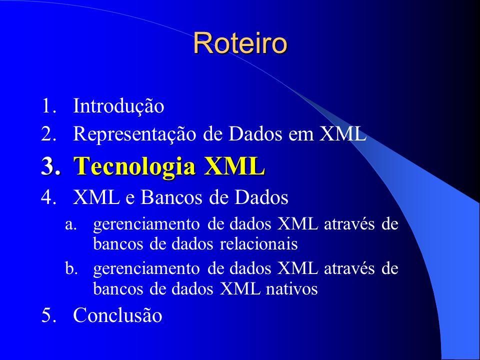 Roteiro Tecnologia XML Introdução Representação de Dados em XML