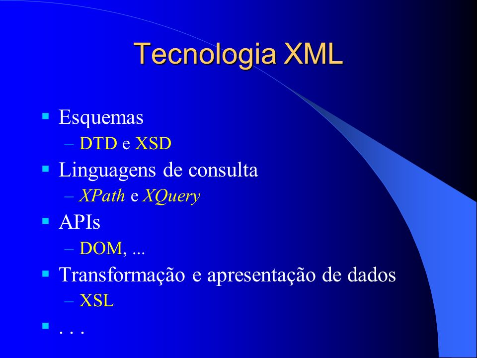 Tecnologia XML Esquemas Linguagens de consulta APIs