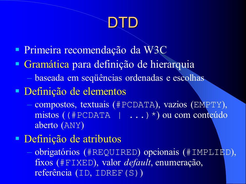 DTD Primeira recomendação da W3C