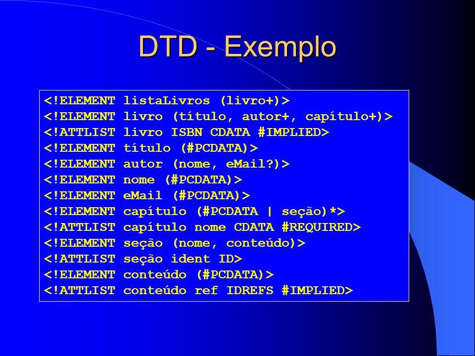 DTD - Exemplo <!ELEMENT listaLivros (livro+)>
