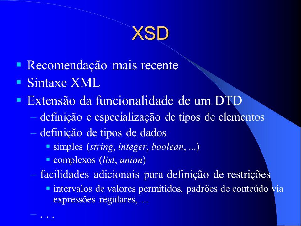 XSD Recomendação mais recente Sintaxe XML