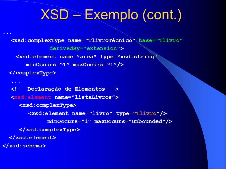 XSD – Exemplo (cont.) ... <xsd:complexType name= TlivroTécnico base= Tlivro derivedBy= extension >