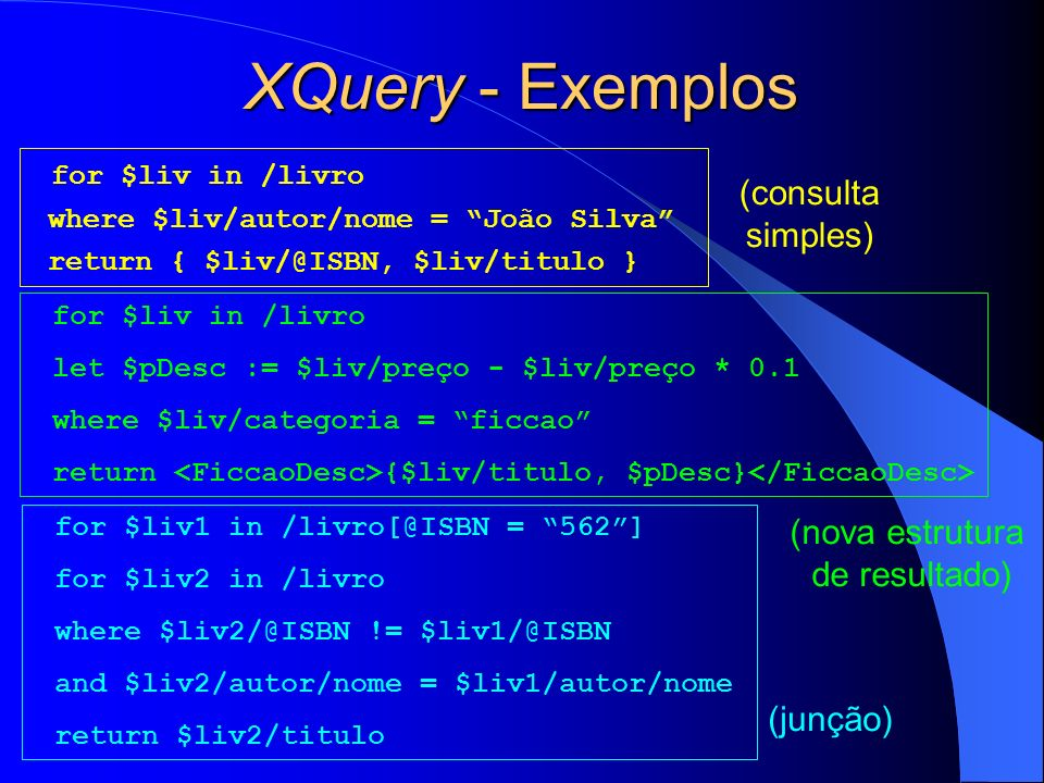 XQuery - Exemplos for $liv in /livro (consulta simples)