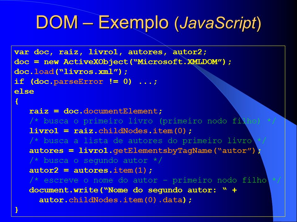 DOM – Exemplo (JavaScript)