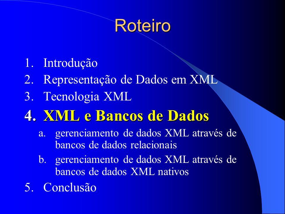 Roteiro XML e Bancos de Dados Introdução Representação de Dados em XML