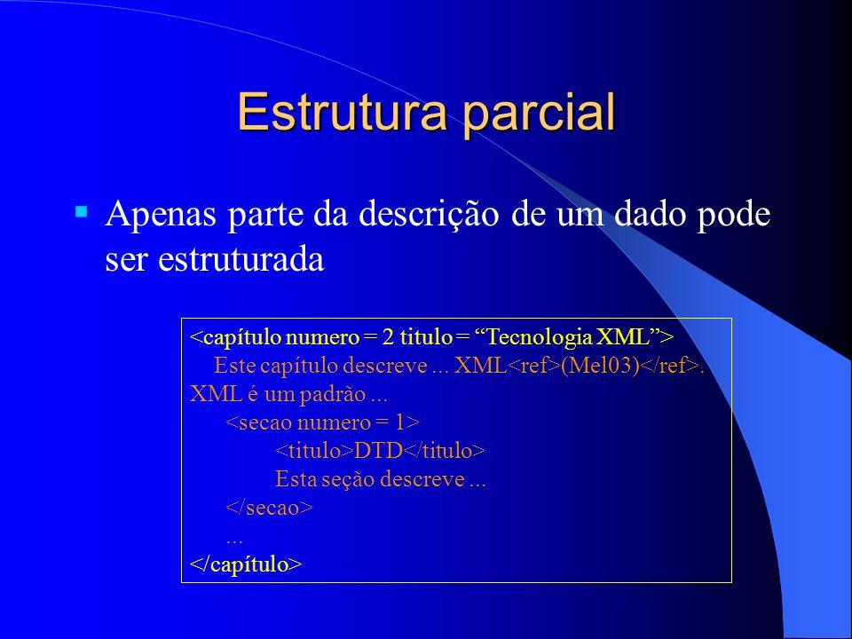 Estrutura parcial Apenas parte da descrição de um dado pode ser estruturada. <capítulo numero = 2 titulo = Tecnologia XML >