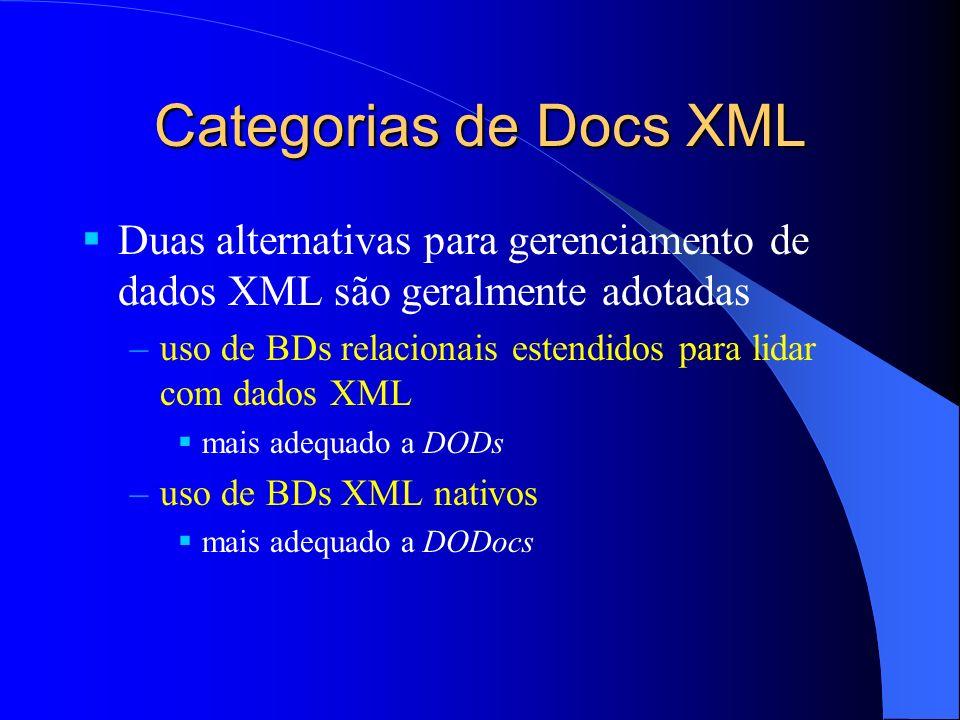 Categorias de Docs XML Duas alternativas para gerenciamento de dados XML são geralmente adotadas.