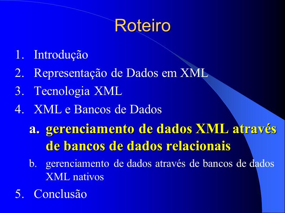 Roteiro Introdução. Representação de Dados em XML. Tecnologia XML. XML e Bancos de Dados.