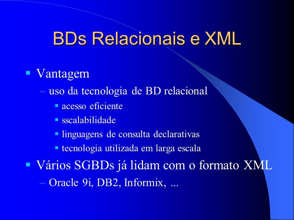 BDs Relacionais e XML Vantagem Vários SGBDs já lidam com o formato XML