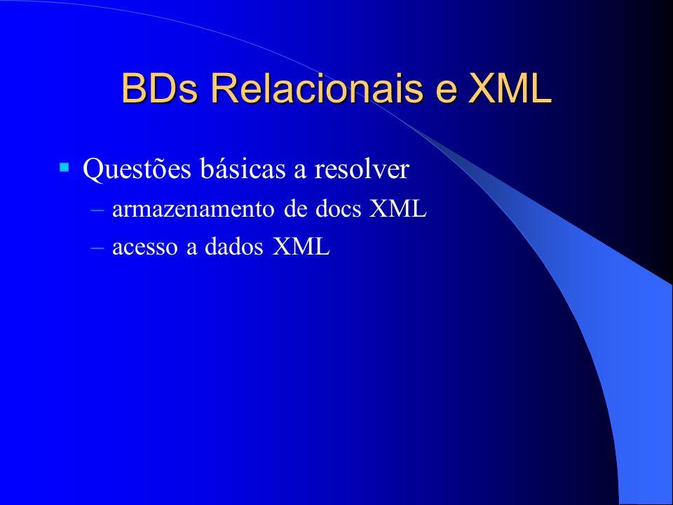 BDs Relacionais e XML Questões básicas a resolver