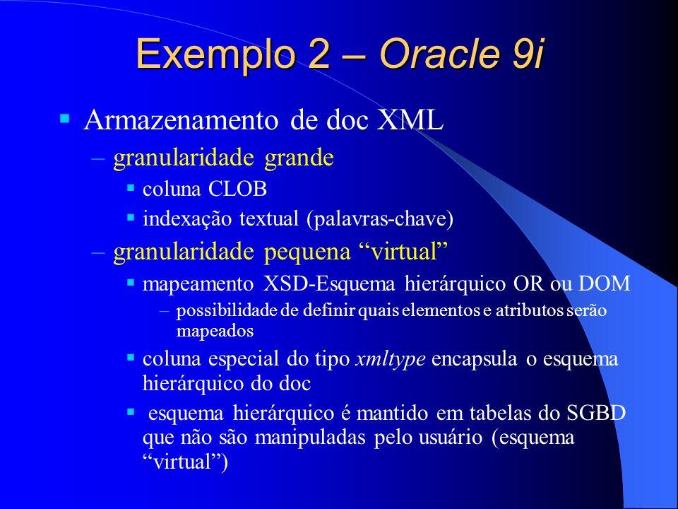 Exemplo 2 – Oracle 9i Armazenamento de doc XML granularidade grande
