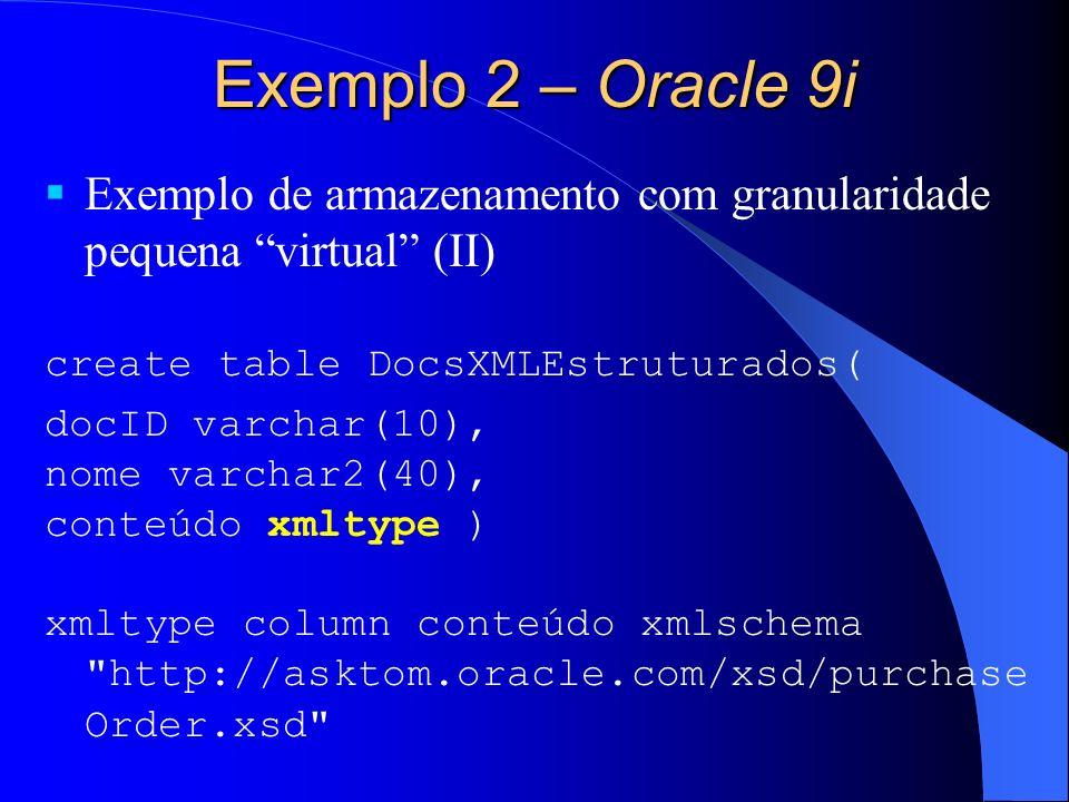 Exemplo 2 – Oracle 9i Exemplo de armazenamento com granularidade pequena virtual (II) create table DocsXMLEstruturados(