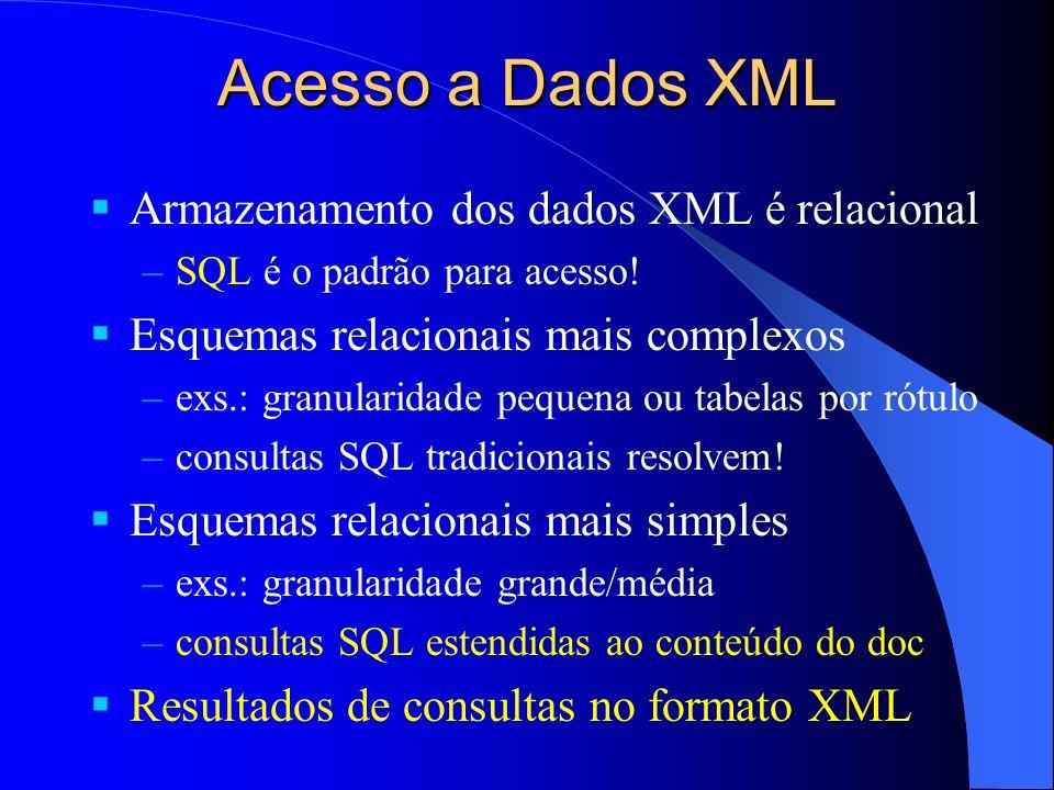 Acesso a Dados XML Armazenamento dos dados XML é relacional