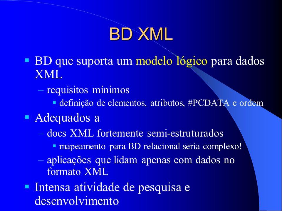 BD XML BD que suporta um modelo lógico para dados XML Adequados a