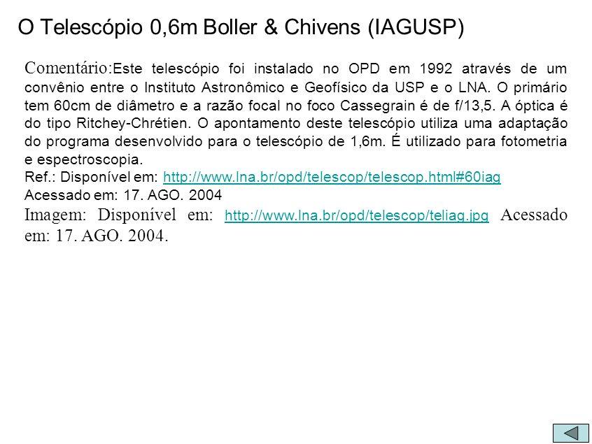 O Telescópio 0,6m Boller & Chivens (IAGUSP)