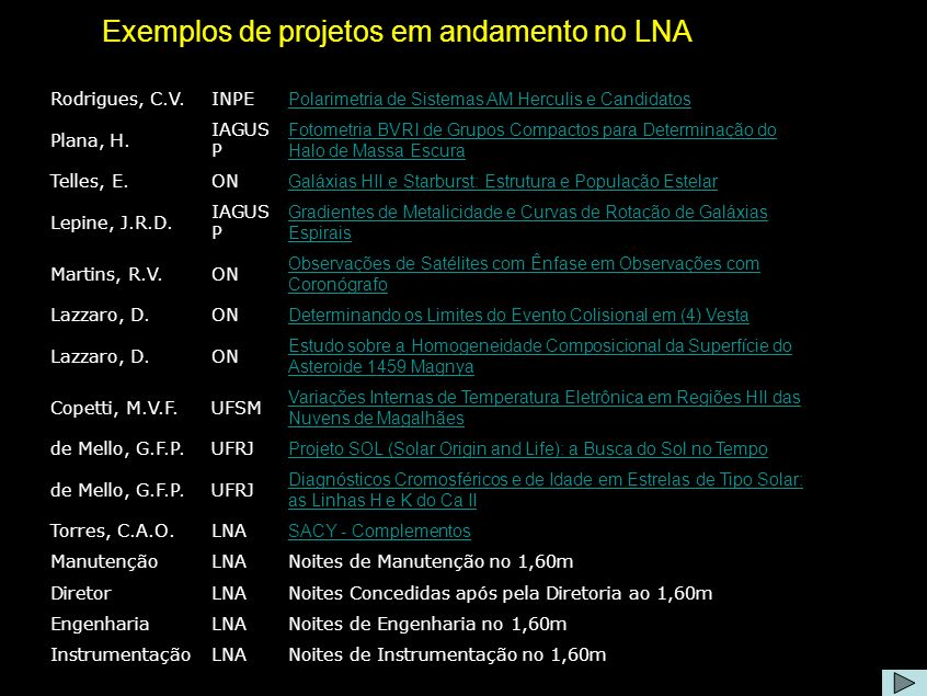 Projetos no LNA Exemplos de projetos em andamento no LNA