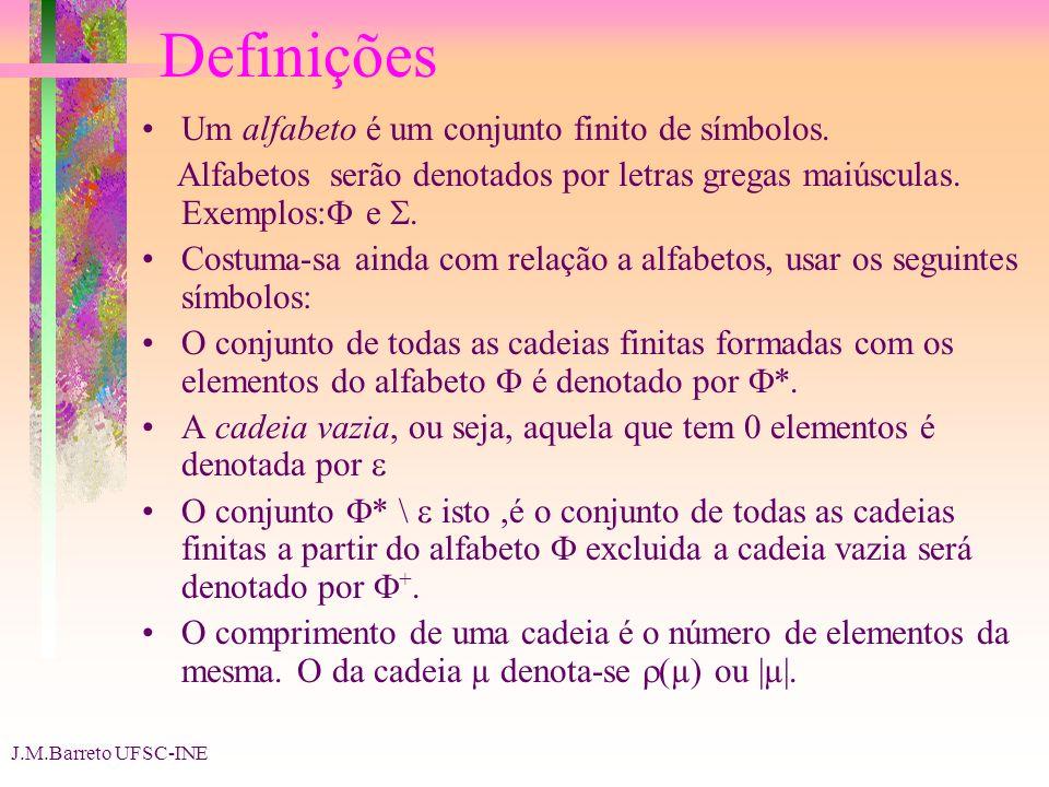 Definições Um alfabeto é um conjunto finito de símbolos.