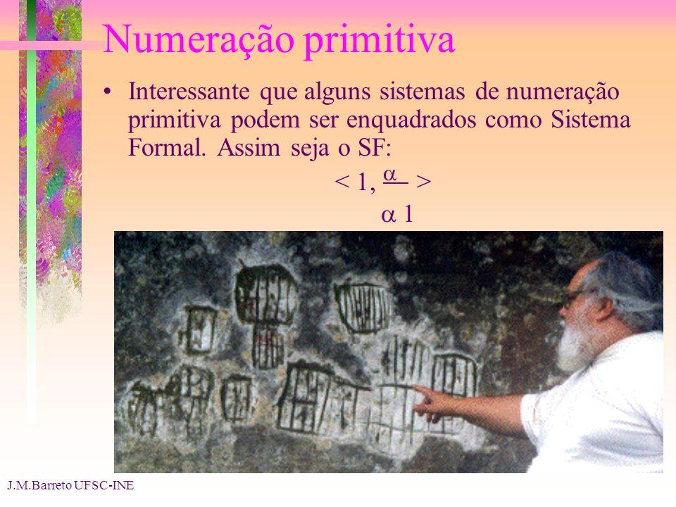 Numeração primitiva Interessante que alguns sistemas de numeração primitiva podem ser enquadrados como Sistema Formal. Assim seja o SF:
