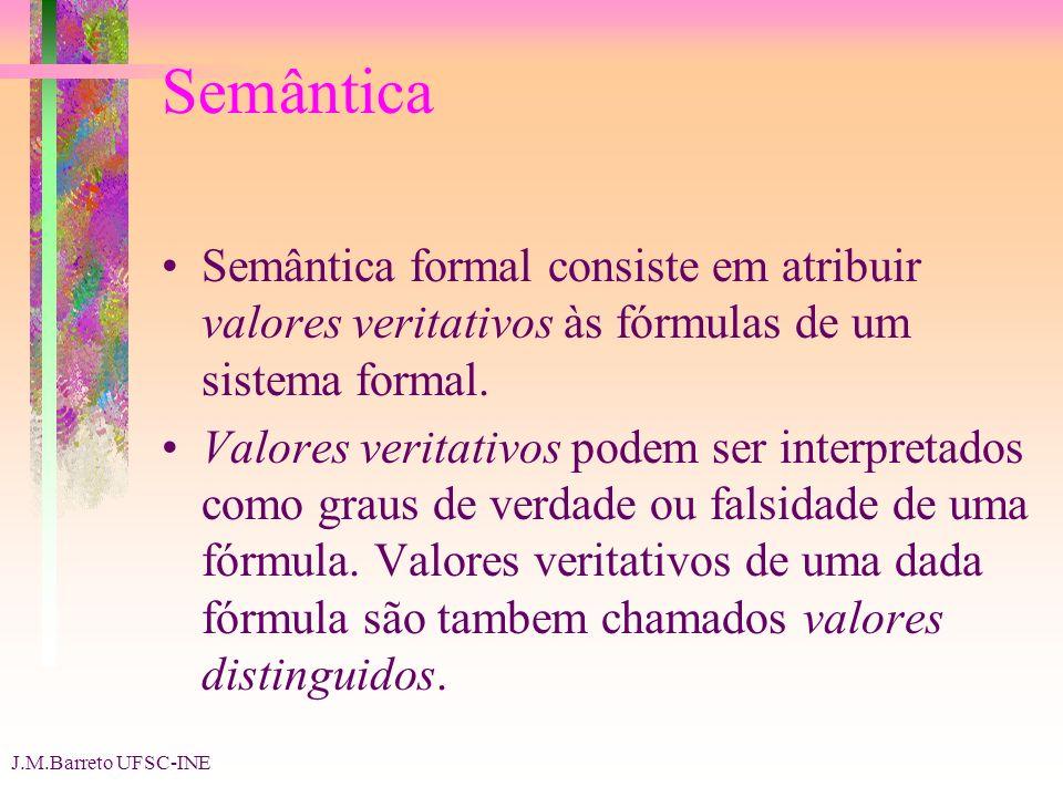 Semântica Semântica formal consiste em atribuir valores veritativos às fórmulas de um sistema formal.