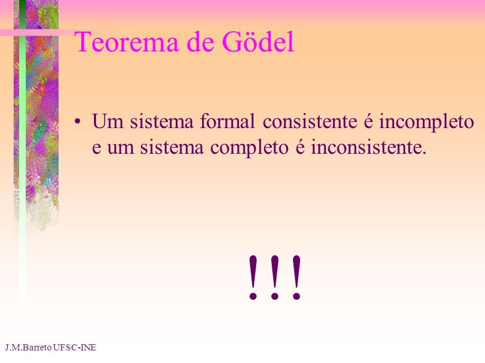 Teorema de Gödel Um sistema formal consistente é incompleto e um sistema completo é inconsistente. !!!