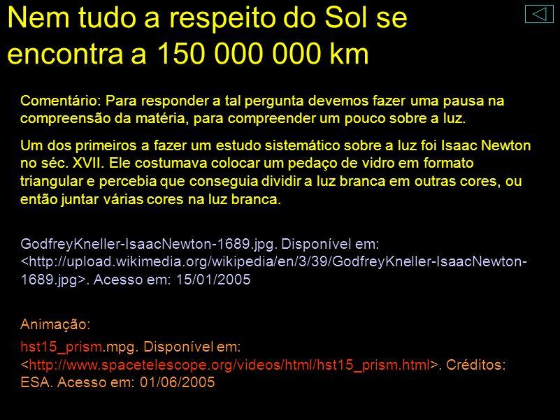 Nem tudo a respeito do Sol se encontra a 150 000 000 km