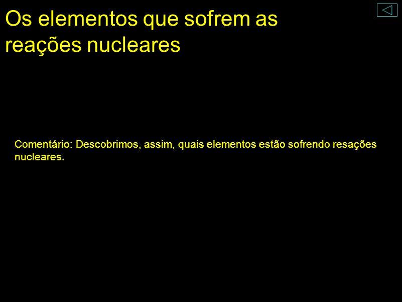 Os elementos que sofrem as reações nucleares
