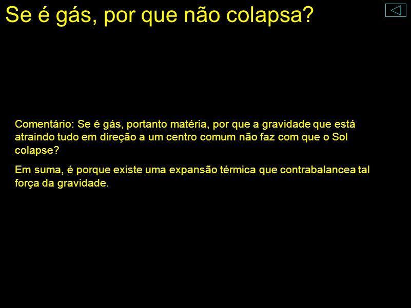 Se é gás, por que não colapsa