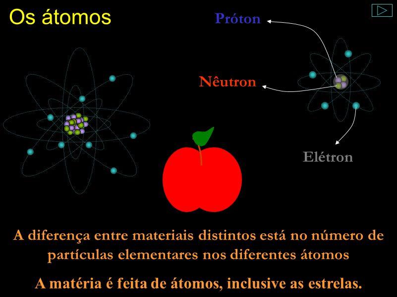 A matéria é feita de átomos, inclusive as estrelas.