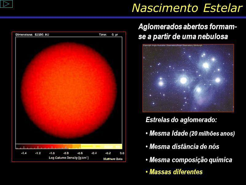 Nascimento Estelar Aglomerados abertos formam-se a partir de uma nebulosa. Estrelas do aglomerado: