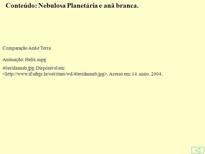 Conteúdo: Nebulosa Planetária e anã branca.