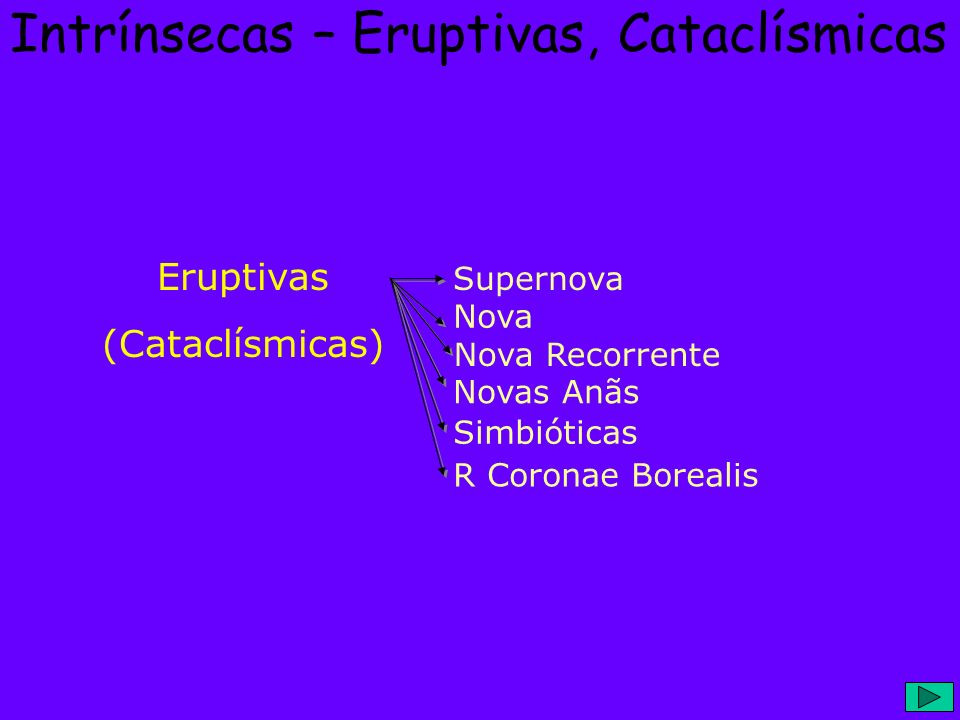 Intrínsecas – Eruptivas, Cataclísmicas