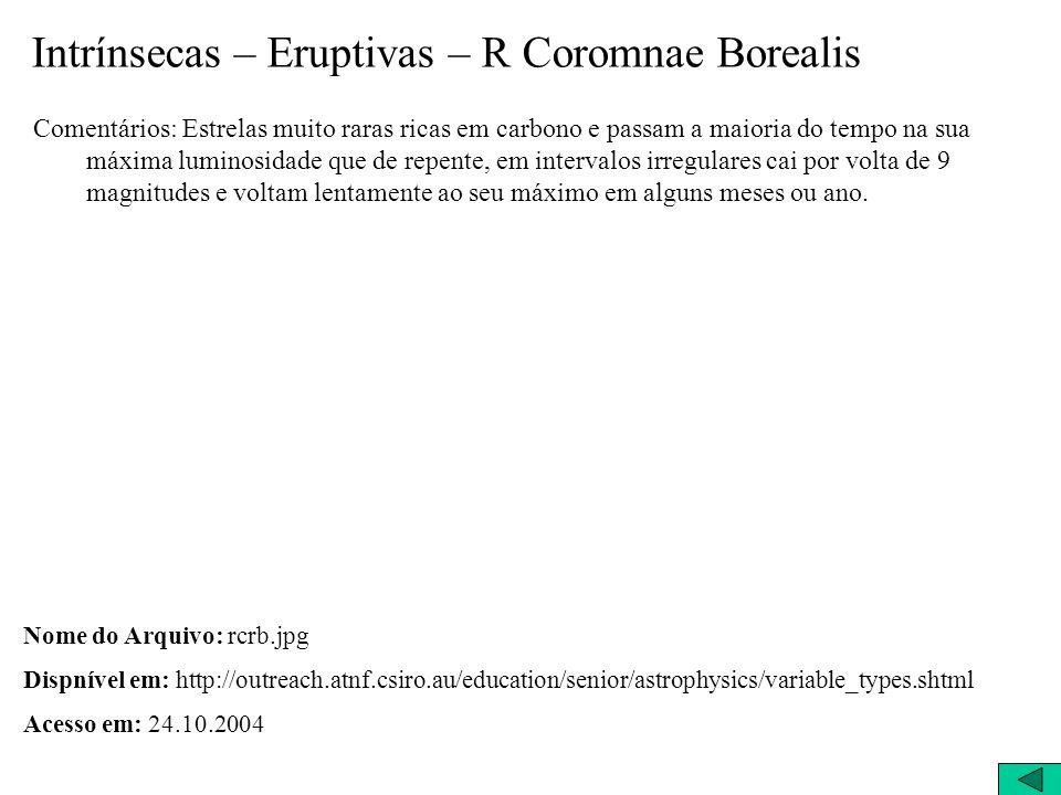 Intrínsecas – Eruptivas – R Coromnae Borealis