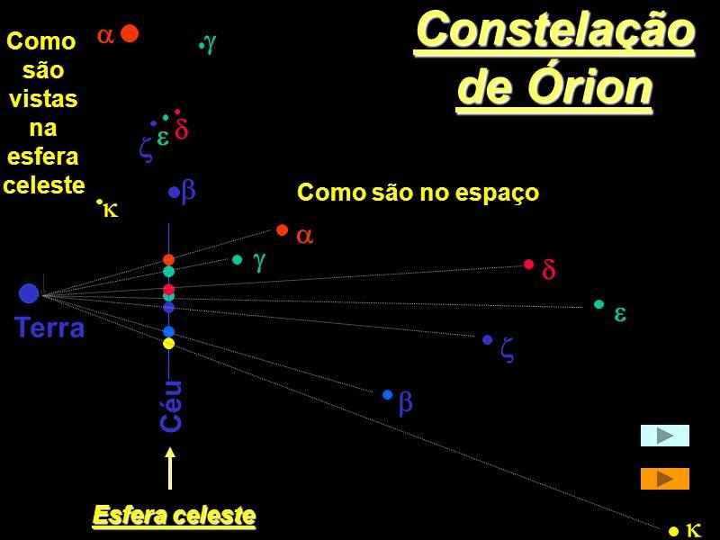 Constelação de Órion a g d e z b k a g d e Terra z Céu b k Como são
