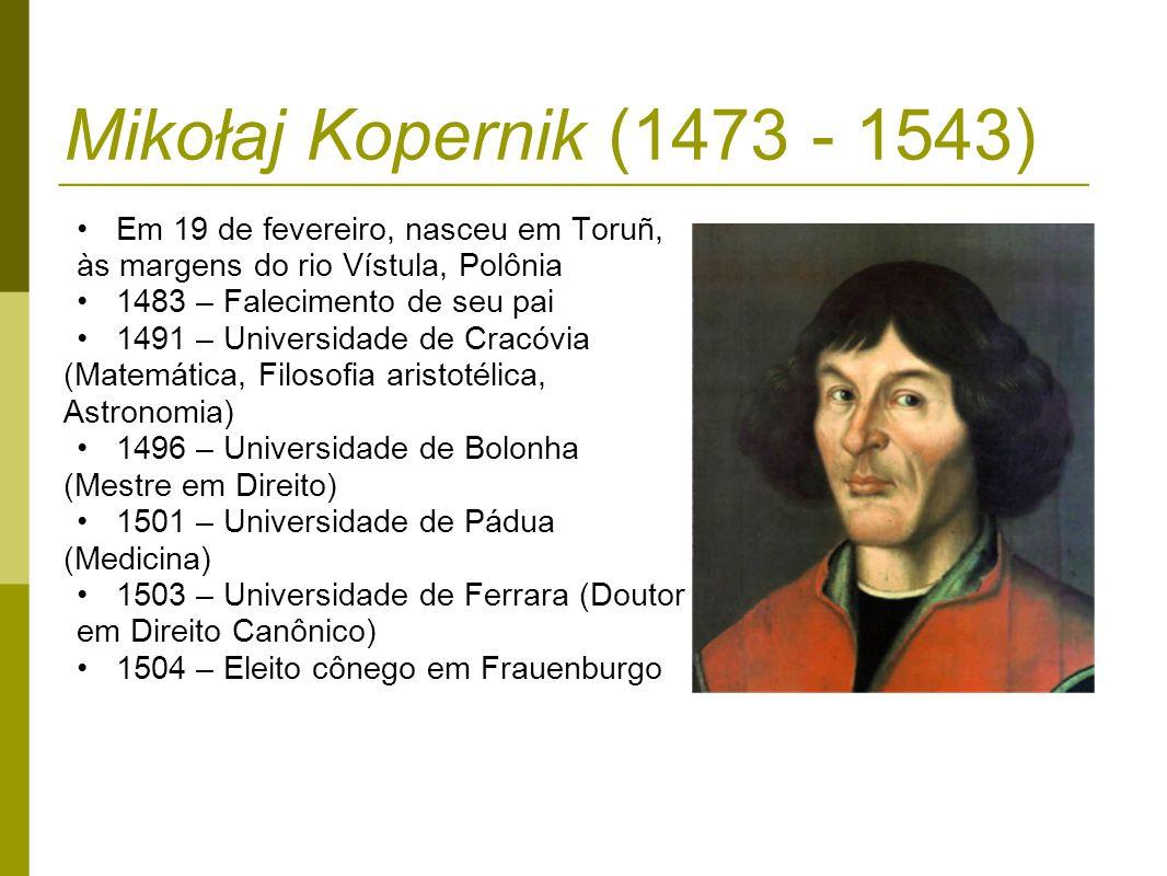 Mikołaj Kopernik (1473 - 1543) Em 19 de fevereiro, nasceu em Toruñ,