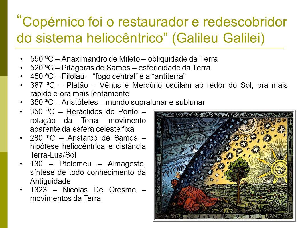 Copérnico foi o restaurador e redescobridor do sistema heliocêntrico (Galileu Galilei)