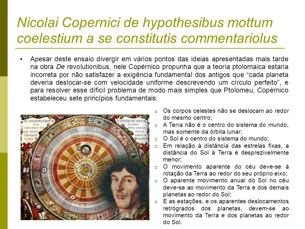 Nicolai Copernici de hypothesibus mottum coelestium a se constitutis commentariolus