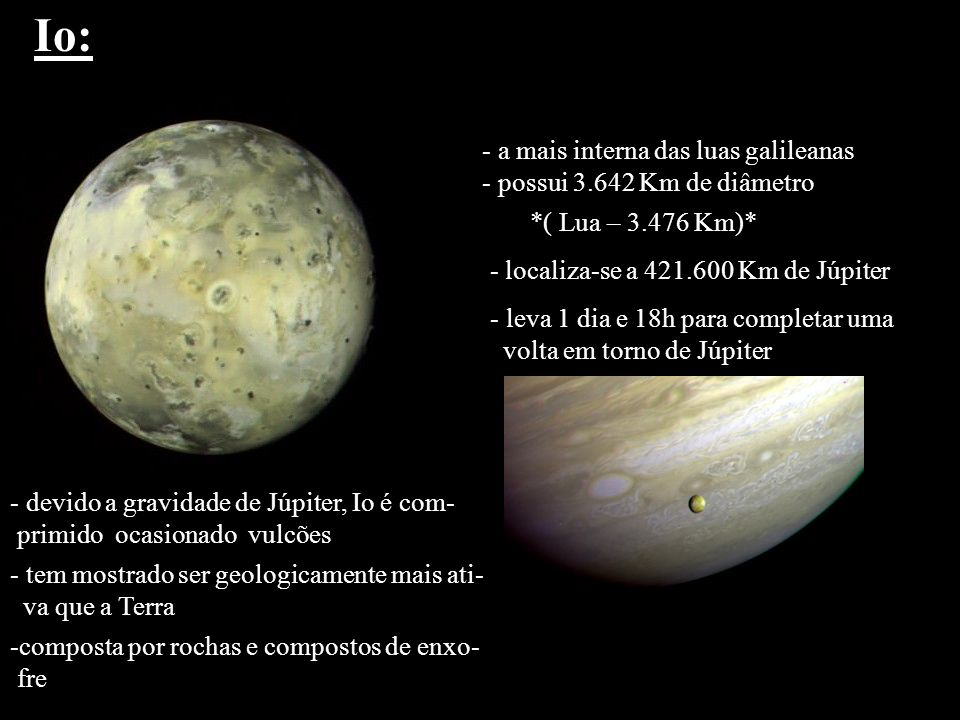 Io: a mais interna das luas galileanas possui 3.642 Km de diâmetro