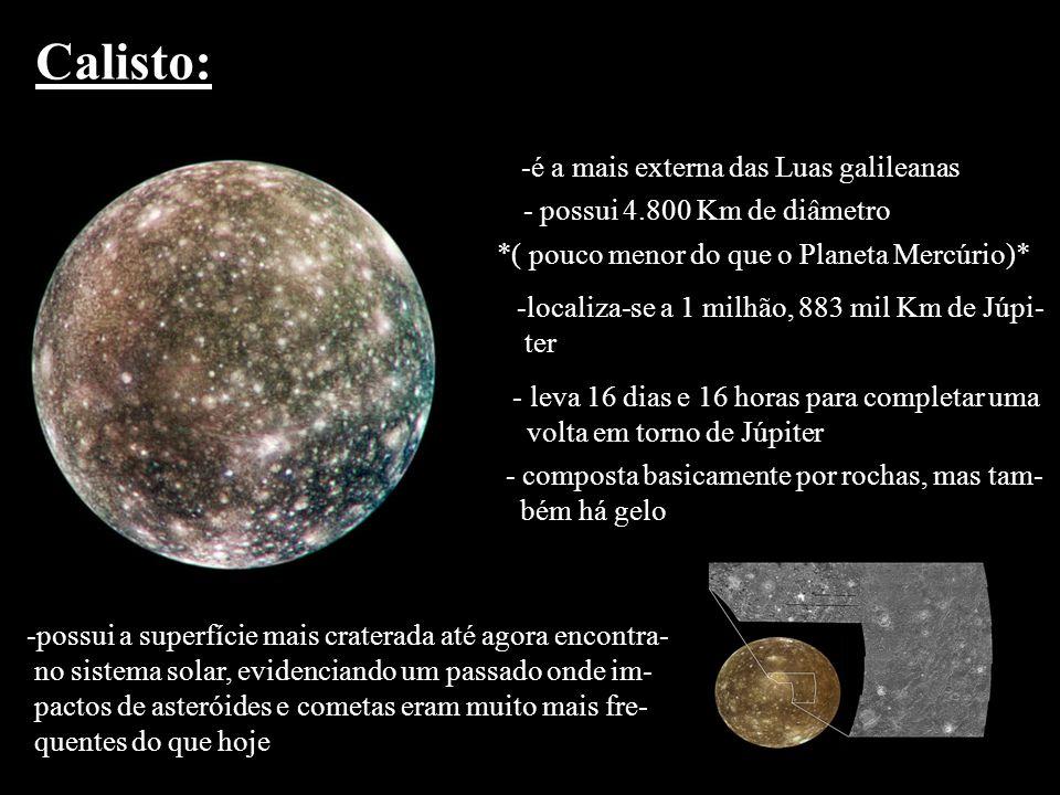 Calisto: é a mais externa das Luas galileanas