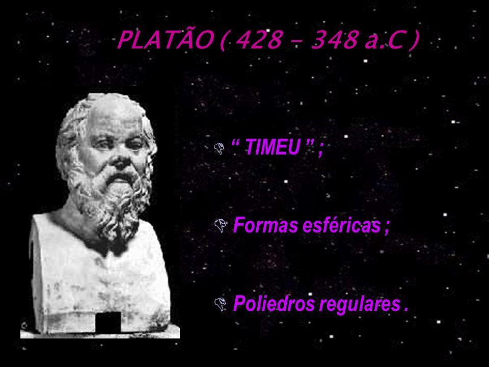 PLATÃO ( 428 - 348 a.C ) Formas esféricas ; Poliedros regulares .