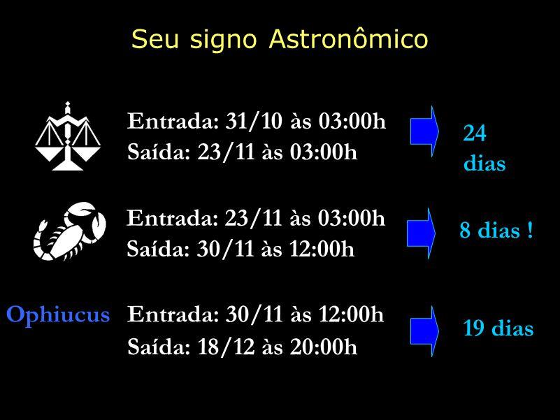 Seu signo Astronômico Entrada: 31/10 às 03:00h 24 dias