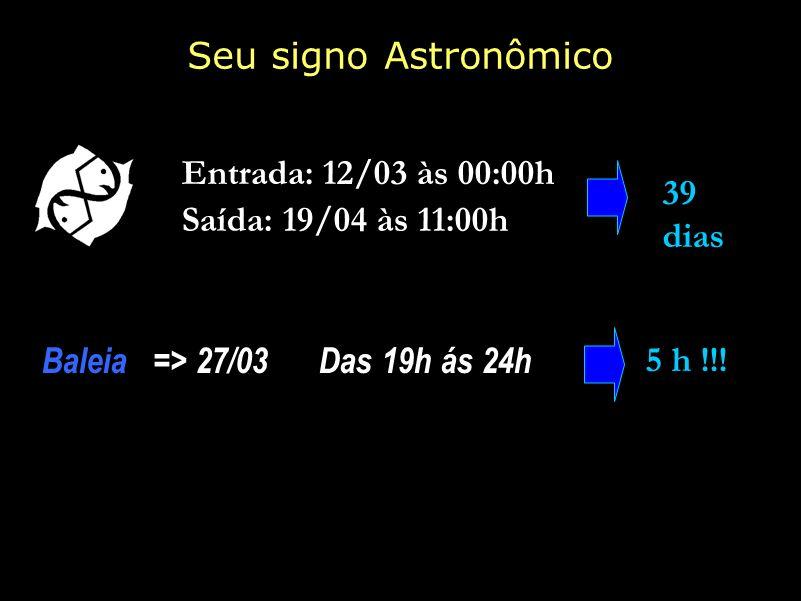 Seu signo Astronômico Entrada: 12/03 às 00:00h 39 dias