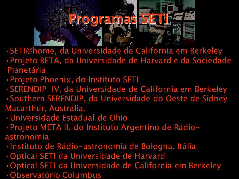 Programas SETI SETI@home, da Universidade de California em Berkeley. Projeto BETA, da Universidade de Harvard e da Sociedade.