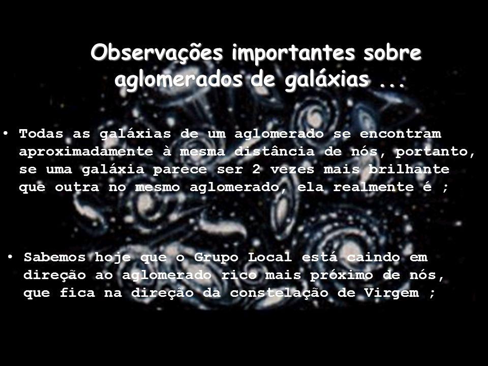 Observações importantes sobre aglomerados de galáxias ...