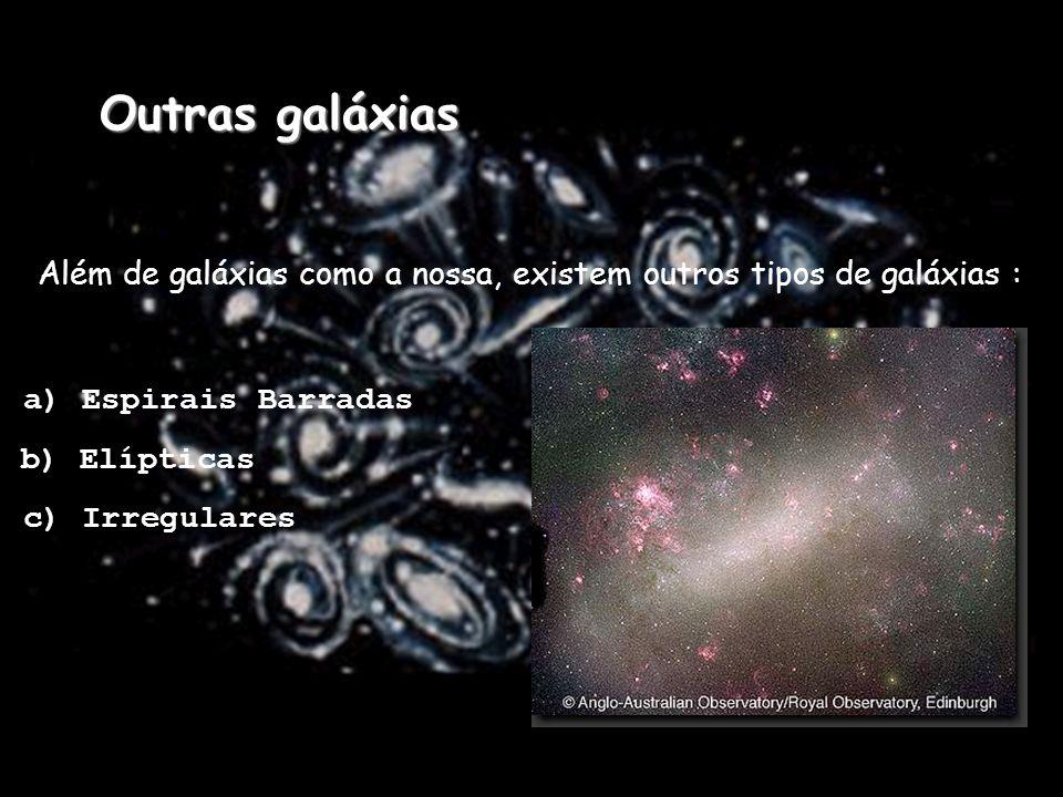 Outras galáxias Além de galáxias como a nossa, existem outros tipos de galáxias : a) Espirais Barradas.