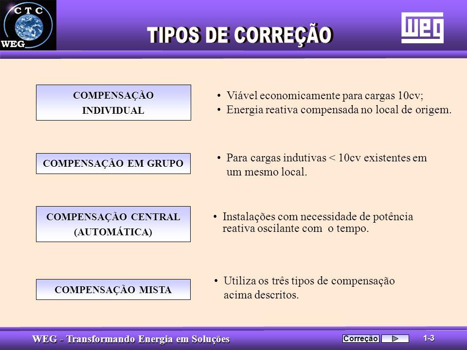 TIPOS DE CORREÇÃO Viável economicamente para cargas 10cv;
