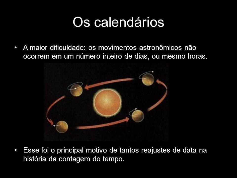 Os calendáriosA maior dificuldade: os movimentos astronômicos não ocorrem em um número inteiro de dias, ou mesmo horas.