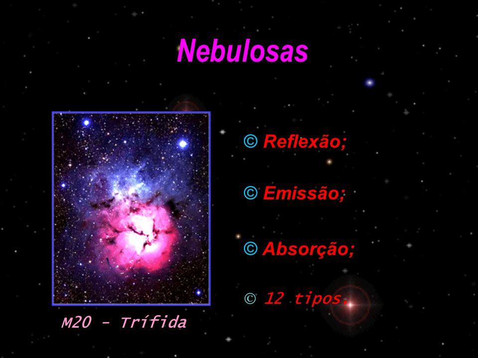 Nebulosas Reflexão; Emissão; Absorção; 12 tipos. M20 - Trífida