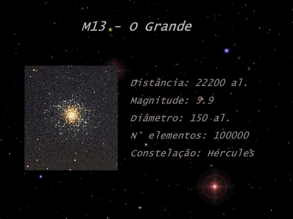M13 - O Grande Distância: 22200 al. Magnitude: 5.9 Diâmetro: 150 al.