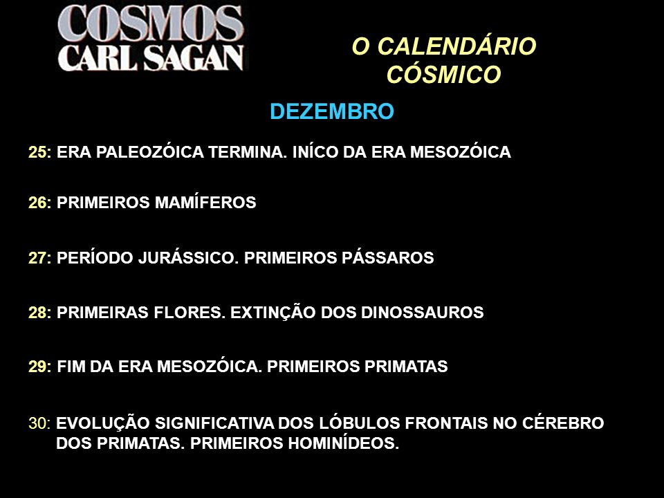 O CALENDÁRIO CÓSMICO DEZEMBRO